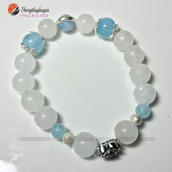 Vòng tay đá Aquamarine mix Thạch Anh trắng vân mây 1