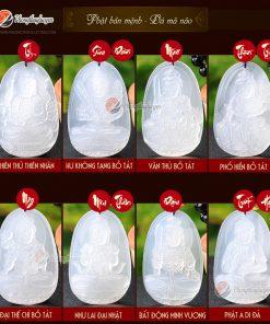 Bảng danh sách Phật bản mệnh 12 con giáp đá Mã Não Trắng