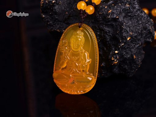 Phật bản mệnh Đại thế chí bồ tát đá Thạch anh vàng