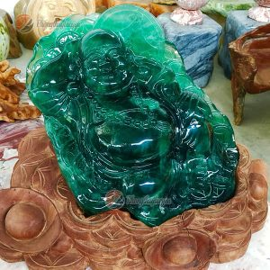 Tượng Di Lặc ngồi bằng đá Fluorite