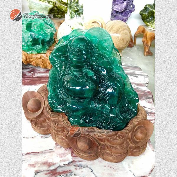 Tượng Di Lặc ngồi bằng đá Fluorite ảnh 3