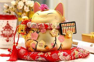 tượng mèo thần tài trong phong thủy