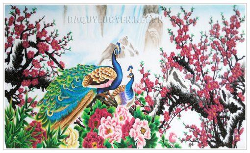 Tranh chim công hoa đào hoa mẫu đơn